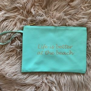 Life is Better at the Beach Mint Wristlet